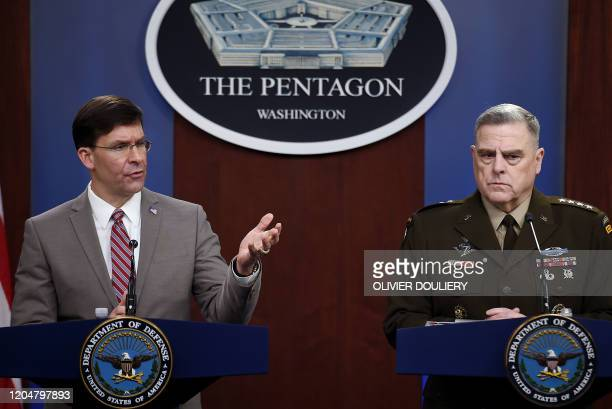 US Secretary of Defense Mark Esper and Chairman of the Joint Chiefs of Staff Army Gen Mark Milley hold a press conference in the briefing room at the...