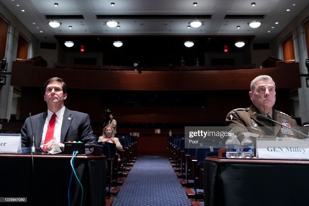U.S. Defense Secretary Esper And Joint Chiefs Chairman Gen. Milley Testify Before House Armed Services Committee : News Photo