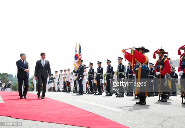 S Secretary of Defense Mark Esper and South Korean Defense Minister Jeong Kyeongdoo inspect a guard of honor during a welcoming ceremony at the...