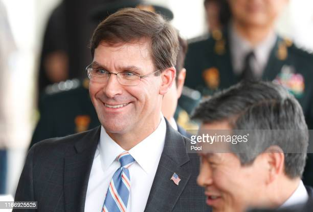S Secretary of Defense Mark Esper and South Korean Defense Minister Jeong Kyeongdoo arrives at the Defense Ministry on August 09 2019 in Seoul South...