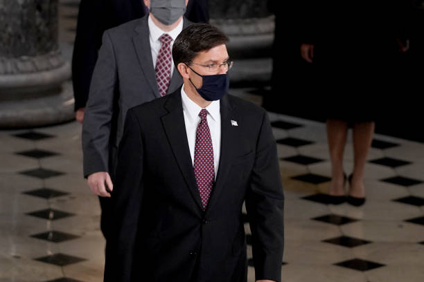 Secretary of Defense Mark Esper arrives to pay his respects at a ceremony to honor the late Justice Ruth Bader Ginsburg as she lies in state at...