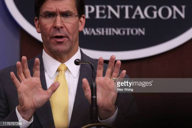 S Secretary of Defense Mark Esper holds a media briefing at the Pentagon August 28 2019 in Arlington Virginia Secretary Esper participated in his...