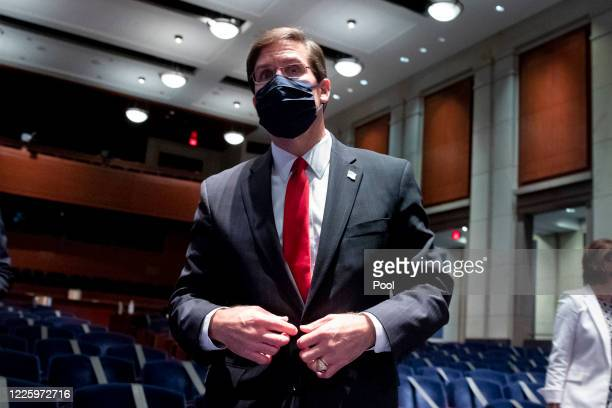 Secretary of Defense Mark Esper leaves after appearing before the US House Armed Services Committee hearing on 'Department of Defense Authorities and...
