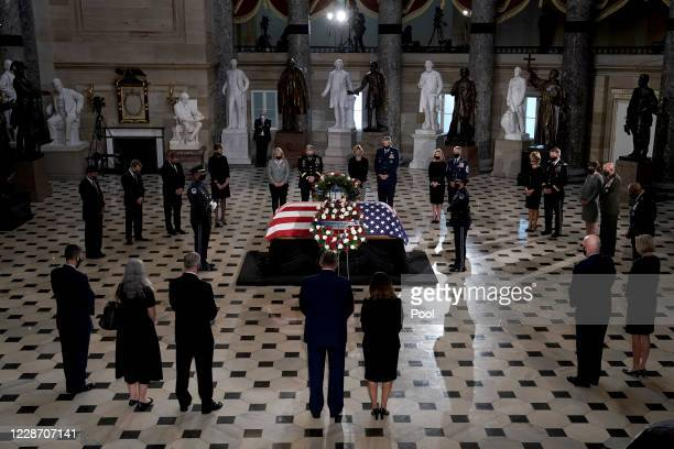 Secretary of Defense Mark Esper pays his respects at a ceremony to honor the late Justice Ruth Bader Ginsburg as she lies in state at National...