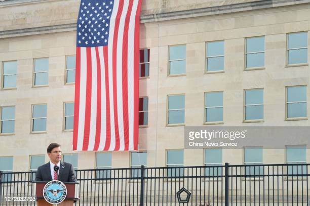 Secretary of Defense Mark Esper speaks during a 9/11 memorial ceremony at the Pentagon on the 19th anniversary of the September 11th terrorist...