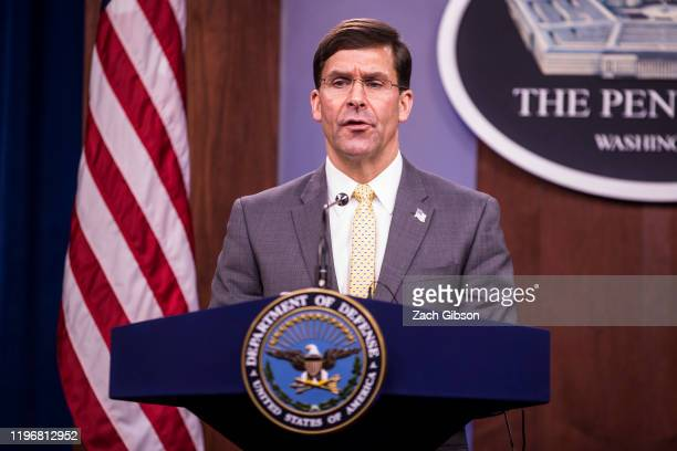 S Secretary of Defense Mark Esper speaks during a bilateral news conference with Defense Minister Florence Parly at the Pentagon on January 27 2020...