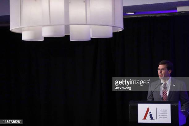 S Secretary of Defense Mark Esper speaks during a National Security Commission on Artificial Intelligence conference November 5 2019 in Washington DC...