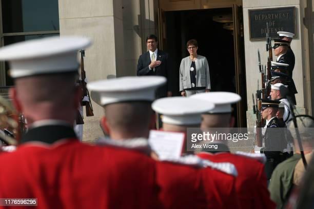 Secretary of Defense Mark Esper welcomes Germany Defense Minister Annegret Kramp-Karrenbauer during an enhanced honor cordon at the Pentagon...