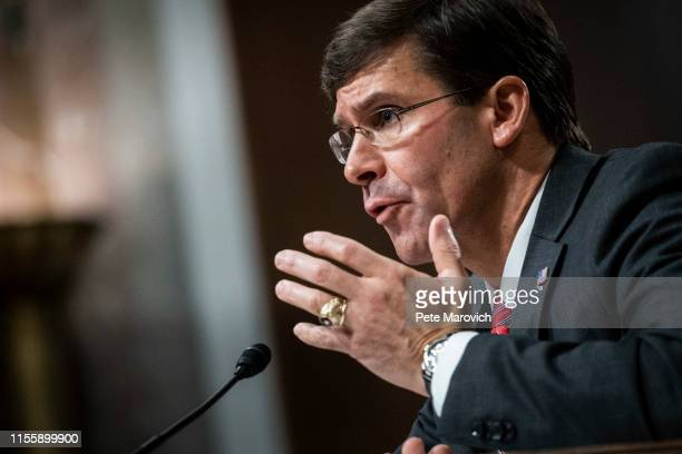 Secretary of Defense nominee Mark Esper testifies before the Senate Armed Services Committee during his confirmation hearing on July 16 2019 in...