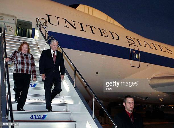 S Secretary of Defense Robert Gates and his wife Becky arrive at Haneda International Airport on January 12 2011 in Tokyo Japan Gates is arriving...