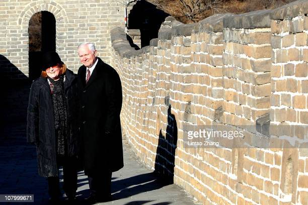 S Secretary of Defense Robert Gates and his wife Becky Gates pose for pictures at the Mutianyu part of the Great Wall on January 12 2011 in Beijing...