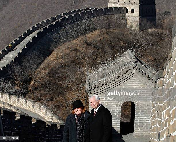 S Secretary of Defense Robert Gates and his wife Becky Gates visit the Great Wall on January 12 2011 in Beijing China Gates is holding talks with...