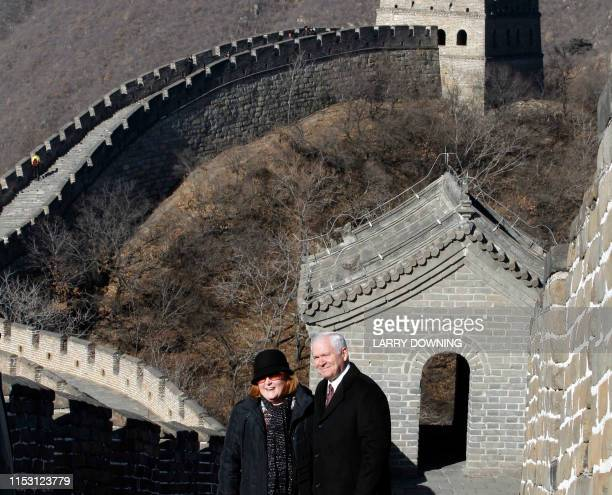 US Secretary of Defense Robert Gates and his wife Becky pose on the Great Wall in Mutianyu outside Beijing during his trip to China on January 12...