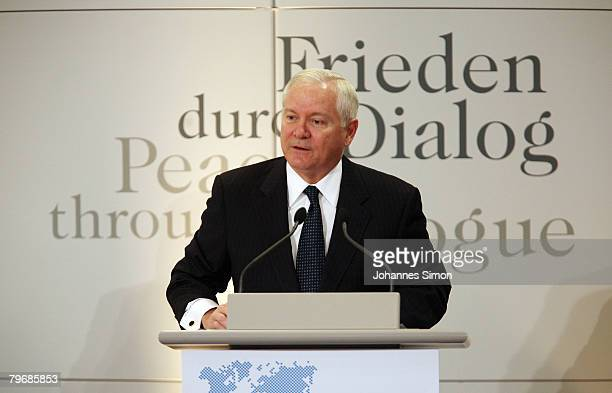 S Secretary of Defense Robert Gates delivers a speech during the third day of the Munich conference on security policy at Hotel Bayerischer Hof on...