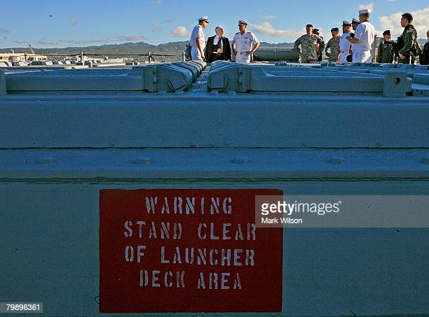 S Secretary of Defense Robert Gates gets a tour of the USS Russell at Pearl Harbor Naval Base February 21 2008 in Honolulu Hawaii The USS Russell was...