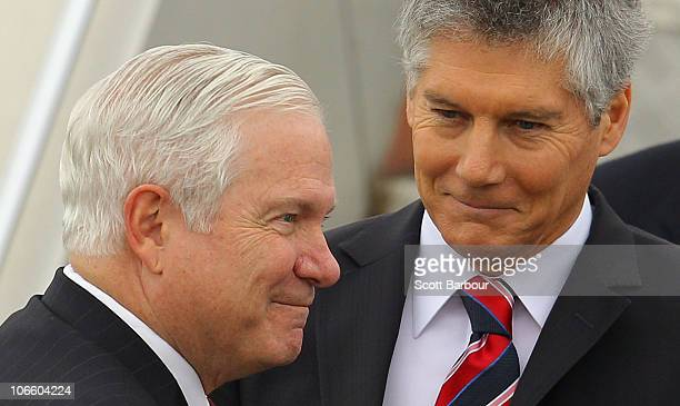S Secretary of Defense Robert Gates is greeted by Australia's Foreign Minister Stephen Smith as he arrives at Tullamarine Airport on November 7 2010...
