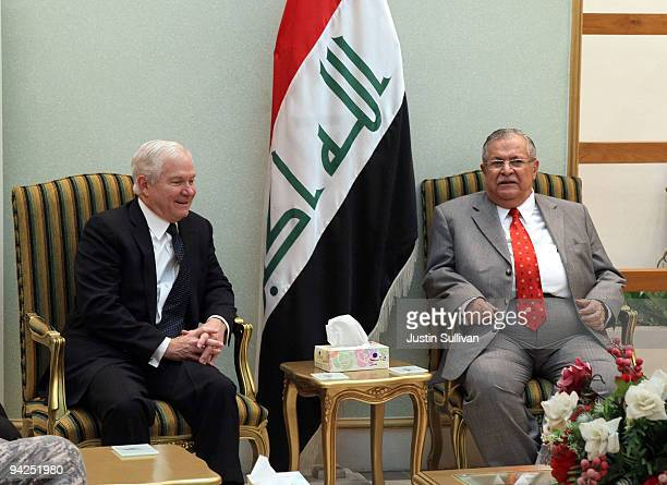 S Secretary of Defense Robert Gates meets with Iraqi President Jalal Talabani at the Presidential Council Office Diwan Building in the Green Zone...