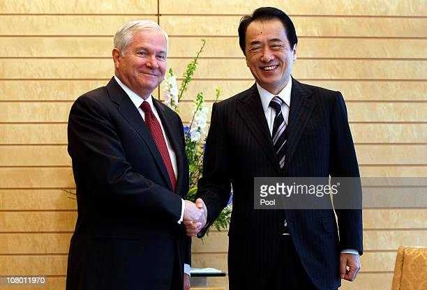S Secretary of Defense Robert Gates meets with Japanese Prime Minister Naoto Kan at Kantei on January 13 2011 in Tokyo Japan Gates arrived in Japan...