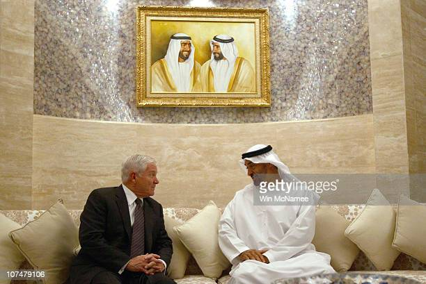 S Secretary of Defense Robert Gates meets with the Crown Prince of Abu Dhabi Sheikh Mohammed bin Zayed bin Sultan Al Nahyan at the Mina Palace...
