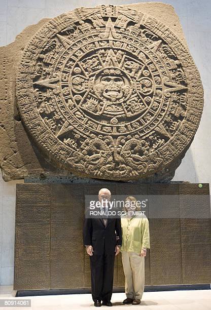 US Secretary of Defense Robert Gates poses with his wife Becky Gates during a visit to the National Museum of Anthropology and History in Mexico City...