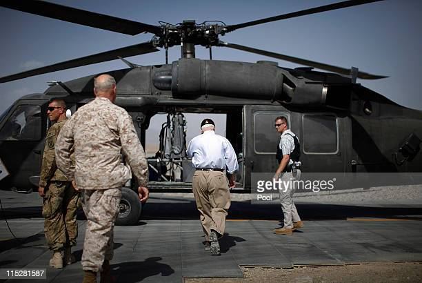 S Secretary of Defense Robert Gates prepares to board a Blackhawk helicopter on June 6 2011 at Forward Operating Base Shank in Logar Province...