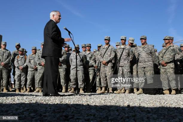 Secretary of Defense Robert Gates speaks to soldiers at F.O.B. Warrior December 11, 2009 in Kirkuk, Iraq. Secretary Gates stopped in Iraq following a...