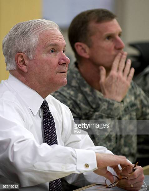 Secretary of Defense Robert Gates speaks with Commander of US and NATO forces in Afghanistan General Stanley McChrystal during a meeting March 8 2010...