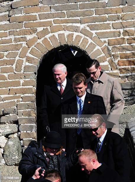 US Secretary of Defense Robert Gates steps out of a watchtower during a visit to the Great Wall at Mutianyu on the outskirts of Beijng on January 12...