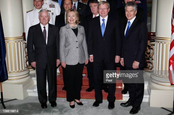 Secretary of Defense Robert Gates, U.S. Secretary of State Hillary Clinton, Australian Foreign Minister Kevin Rudd and Australian Minister for...