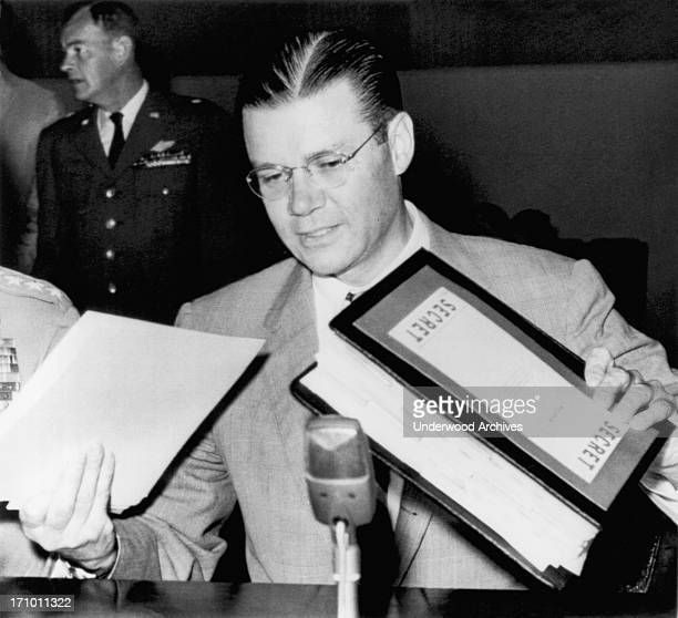 Secretary of Defense Robert McNamara as he prepares to testify before the House Military Operations subcommittee about President Kennedy's civil...