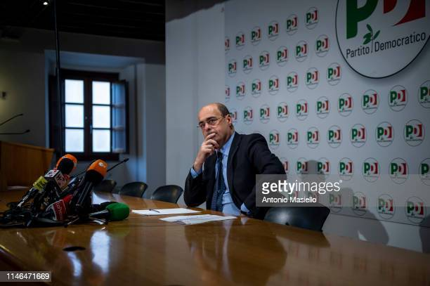 Secretary of Democratic Party Nicola Zingaretti attends a press conference at the Democratic party headquarters after the results of the European...