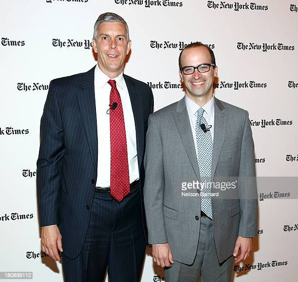 Secretary of Education Arne Duncan and the New York Times Washington bureau chief David Leonhardt attend a columnist conversation at the New York...