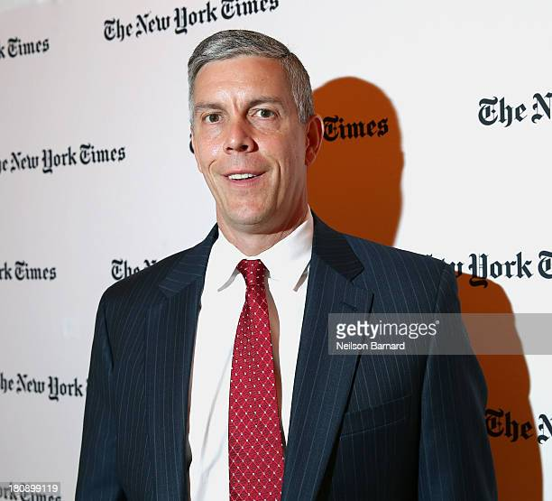 Secretary of Education Arne Duncan attends the New York Times Schools For Tomorrow Conference at the TimesCenter on September 17 2013 in New York...