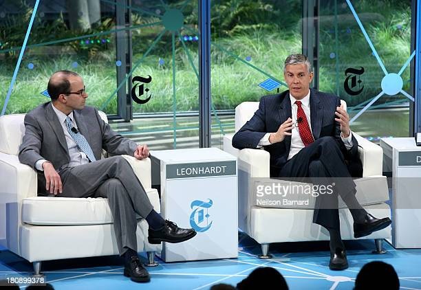 Secretary of Education Arne Duncan gets interveiwed by New York Times Washington bureau chief David Leonhardt during a Columnist conversation at the...