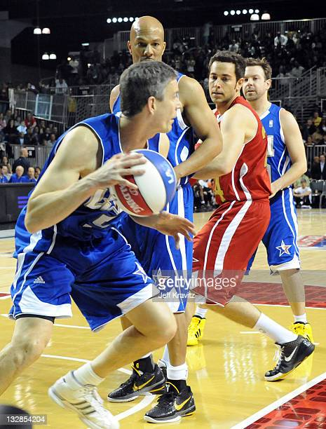 Secretary of Education Arne Duncan, Singer Common and Actor Zachary Levi during the 2011 BBVA NBA All-Star Celebrity Game at Los Angeles Convention...