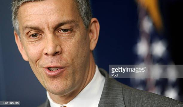 US Secretary of Education Arne Duncan speaks at the press briefing of the White House April 20 2012 in Washington DC