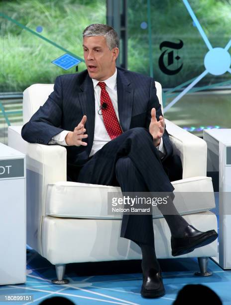 Secretary of Education Arne Duncan speaks during a Columnist conversation at the New York Times Schools For Tomorrow Conference at the TimesCenter on...