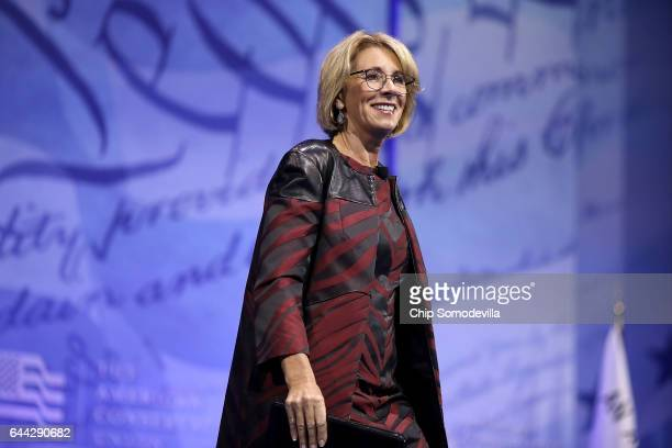 S Secretary of Education Betsy DeVos addresses the Conservative Political Action Conference at the Gaylord National Resort and Convention Center...