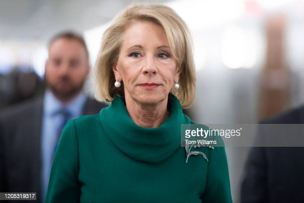 Secretary of Education Betsy DeVos arrives to testify during the Senate Appropriations Labor, Health and Human Services, Education and Related...