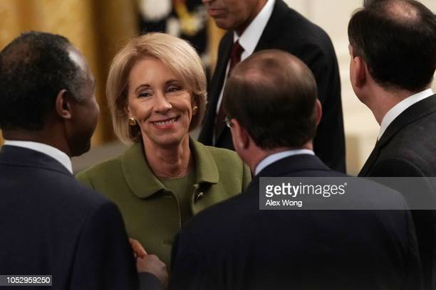 S Secretary of Education Betsy DeVos attends an East Room event at the White House October 24 2018 in Washington DC President Trump hosted an event...