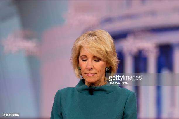 US Secretary of Education Betsy DeVos calls for a moment of silence in name of the Parkland school shooting during the 2018 Conservative Political...