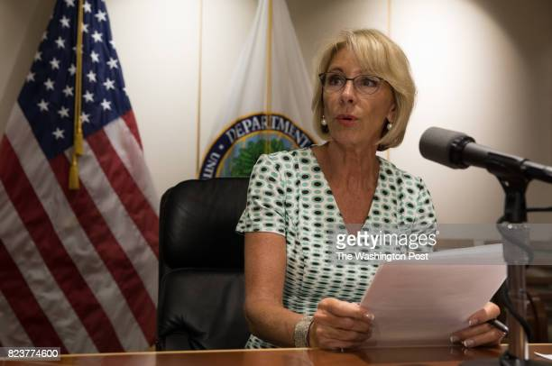 Secretary of Education Betsy DeVos holds a press conference at the Department of Education July 13 after a day of meetings weighing whether to keep...