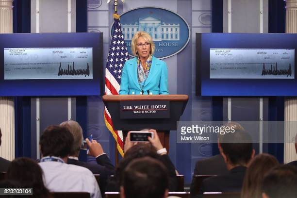 Secretary of Education Betsy DeVos speaks about a donation from President Donald Trump to the Department of Education during the daily press briefing...