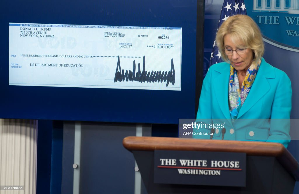US Secretary of Education Betsy DeVos speaks about a donation from US President Donald Trump to the Department of Education during the daily press briefing in the Brady Press Briefing Room of the White House in Washington, DC, July 26, 2017. /