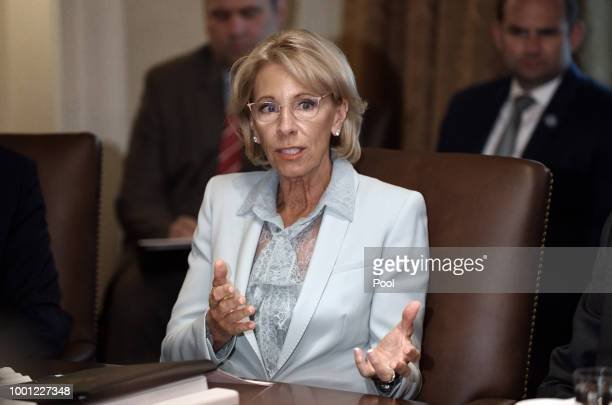 Secretary of Education Betsy DeVos speaks during a cabinet meeting with US President Donald Trump in the Cabinet Room of the White House July 18 2018...