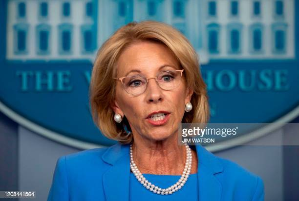 Secretary of Education Betsy Devos speaks during the daily briefing on the novel coronavirus, COVID-19, in the Brady Briefing Room at the White House...