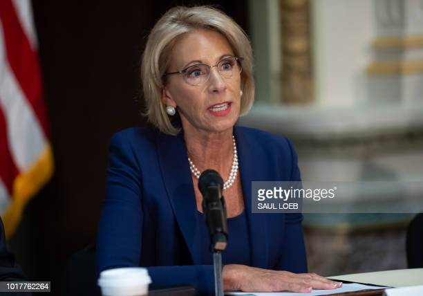 US Secretary of Education Betsy DeVos speaks during the fifth meeting of the Federal Commission on School Safety focusing on the best practices for...