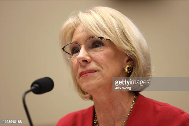Secretary of Education Betsy DeVos testifies during a hearing before House Education and Labor Committee December 12, 2019 on Capitol Hill in...
