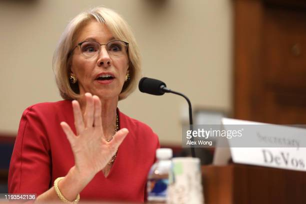 S Secretary of Education Betsy DeVos testifies during a hearing before House Education and Labor Committee December 12 2019 on Capitol Hill in...
