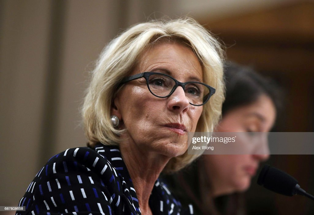 U.S. Secretary of Education Betsy DeVos testifies during a hearing before the Labor, Health and Human Services, Education and Related Agencies Subcommittee of the House Appropriations Committee May 24, 2017 on Capitol Hill in Washington, DC. The subcommittee held a hearing on 'Department of Education Budget.'